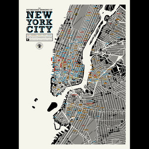 The DISTINGUISHED DRINKERIES of NEW YORK CITY | Infographic POSTER | 46x61 cm | Pop Chart Lab - Charles & Marie