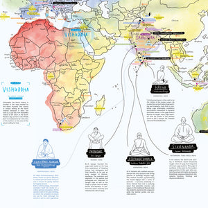 YOGA | illustrierte Yoga-WELTKARTE | zeigt Yoga Orte & Styles | Eva Dietrich | Awesome Maps
