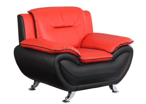 Red & Black Leather Look Chair w/Chrome Legs