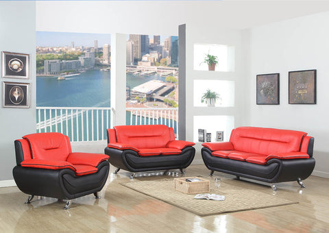 Red/Black Leather Sofa & Loveseat w/Chrome Legs