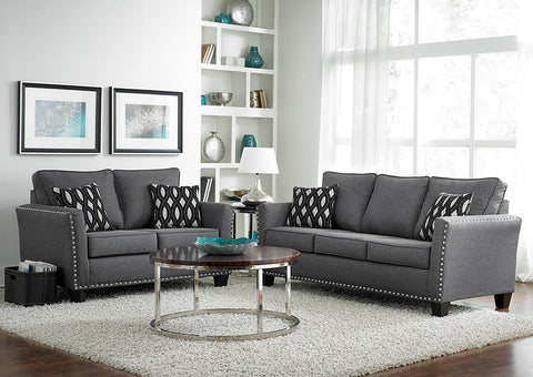 Grey Chenille Nail Head Sofa & Loveseat w/Pillows