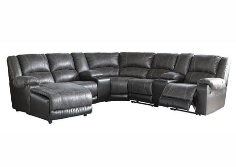 Nantahala Slate Left Facing Corner Chaise Sectional w/2 Storage Console