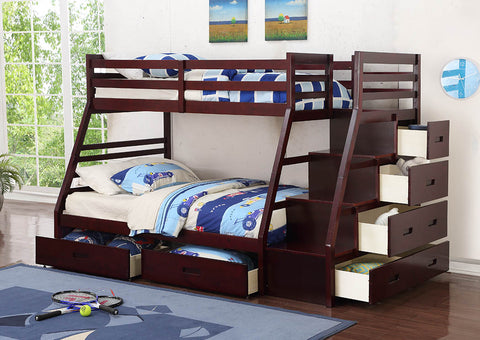 Cherry Twin/Full Bunk Staircase Bed w/Under-Bed Storage Drawers