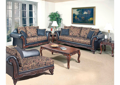 Black Paisley Sofa w/Scatter-Back Cushions