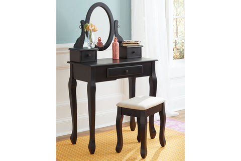 Huey Vineyard Black Vanity w/Mirror & Stool