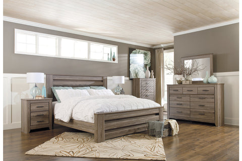 Zelen Warm Gray Full Panel Bed and Dresser w/Mirror