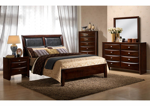 Cherry Upholstered Sleigh Twin Bed