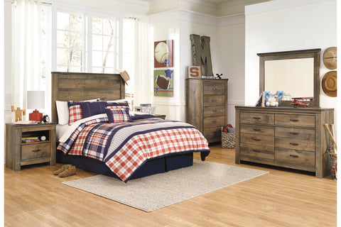 Trinell Brown Twin Panel Headboard w/Dresser & Mirror