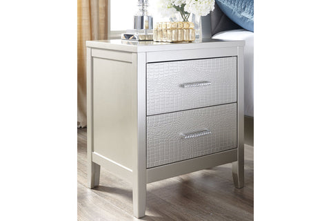 Olivet Silver 2 Drawer Nightstand