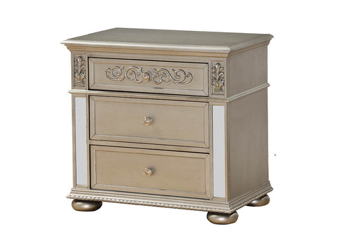 Silver Nightstand w/Mirror Accents