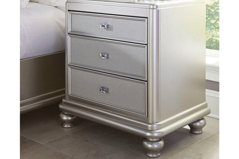 Coralayne Silver 3 Drawer Nightstand