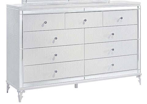 Catalina Metallic White Dresser