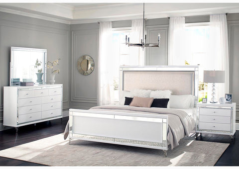 Catalina Metallic White Upholstered King Panel Bed w/Dresser & Mirror