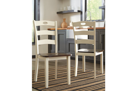 Woodanville White/Brown Dining Room Side Chair (Set of 2)