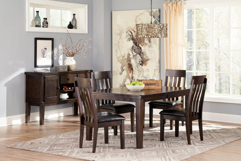Haddigan Dark Brown Rectangle Dining Room Extension Table w/4 Upholstered Side Chairs & Server