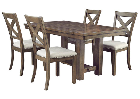 Moriville Beige Dining Table w/4 Side Chairs
