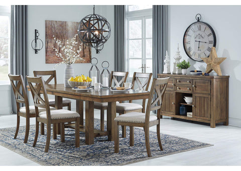 Moriville Beige Dining Table w/6 Side Chairs