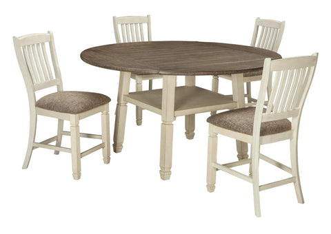 Bolanburg Antique White Round Drop Leaf Counter Table w/4 Upholstered Barstools