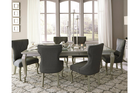 Coralayne Silver Finish Rectangular Dining Room Extension Table