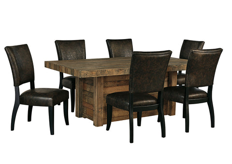 Sommerford Brown Rectangular Dining Room Table w/6 Upholstered Side Chairs