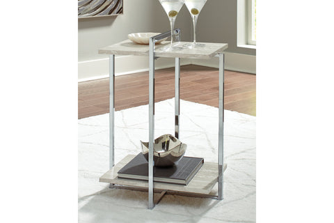 Bodalli Ivory/Chrome Chairside Table