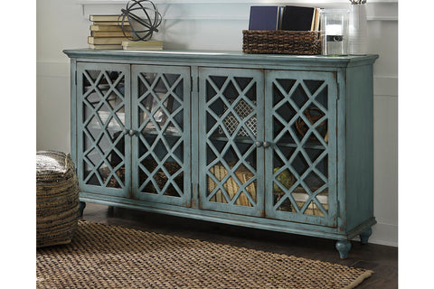 Mirimyn Antique Teal 4 Door Accent Cabinet