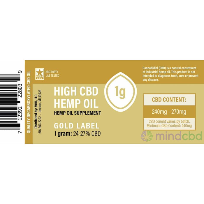 Proprietary Hemp Extract Gold Cbd Oil Concentrate (250Mg 750Mg 2500Mg) - Cbd Oil
