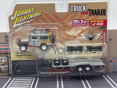 1980 Toyota Land Cruiser w/ Open Car Trailer MiJo Exclusive Johnny Lightning