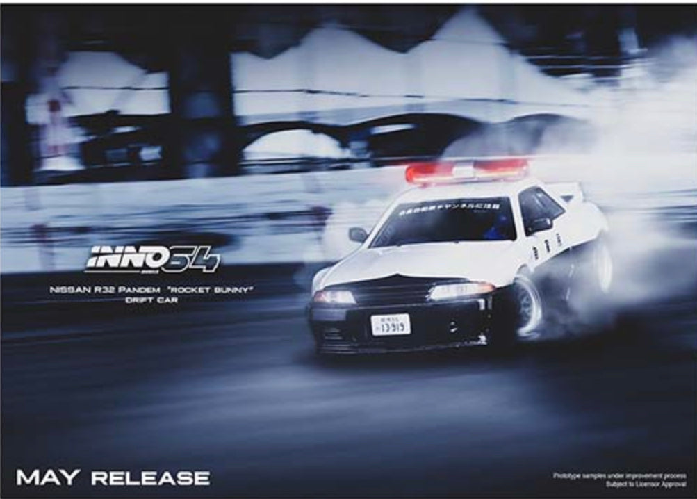 Inno64 1:64 Nissan Skyline GT-R (R32) Pandem Rocket Bunny Japan Police Drift Car