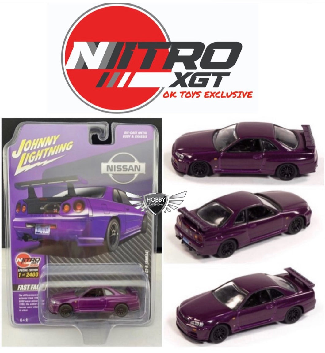 Pre-Order Nitro XGT Nissan Skyline GT-R BNR34 Johnny Lightning Okay Toys Exclusive