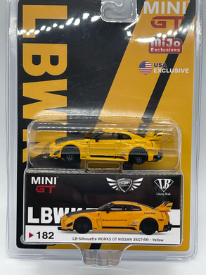 LB Silhouette Works GT Nissan 35GT-RR Yellow MiJo Exclusives Mini GT #182