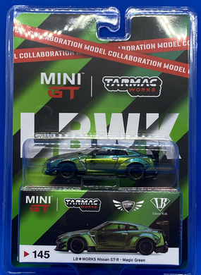 LB Works Nissan GT-R Magic Green Tarmac/ Mini GT #145