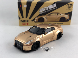 LB Works Nissan GT-R Satin Gold MiJo Exclusives Mini GT #30