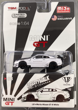 Load image into Gallery viewer, LB Works Nissan GT-R White MiJo Exclusives MINI GT (NEW)