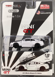 LB Works Nissan GT-R White MiJo Exclusives MINI GT (NEW)