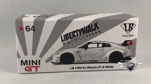 LB Works Nissan GT-R (R35) White USA Exclusives MiJo Exclusives Mini GT #64