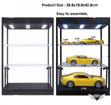 Load image into Gallery viewer, Show Case Desk Top-2 Tier Adjustable Shelves With LED Lights (Black Textured Plastic)