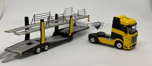 Mercedes-Benz Astros Yellow w/Car Carrier #137 Mini GT