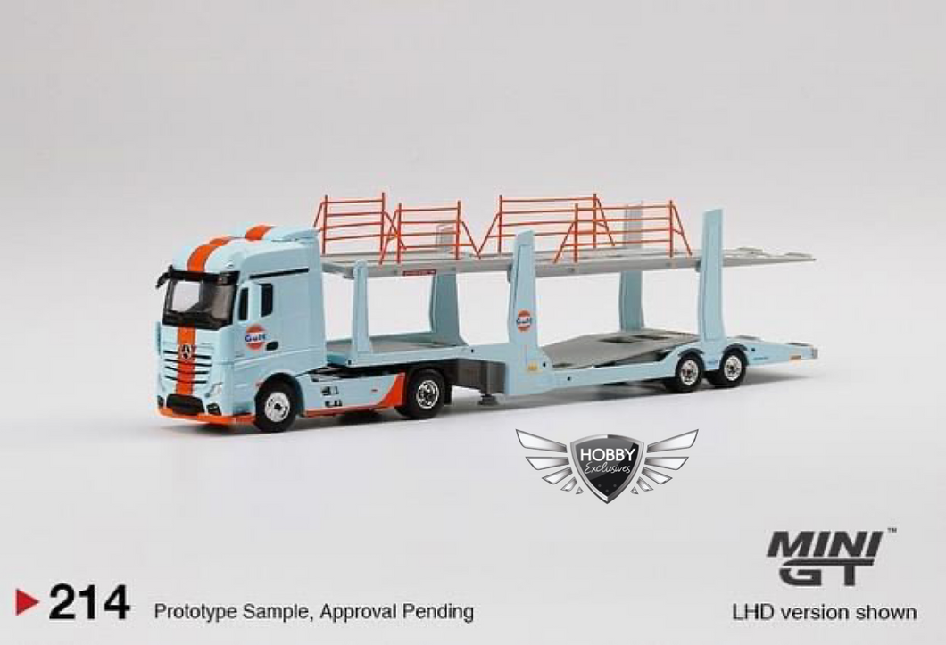 Mini GT 1/64 MiJo Exclusives Mercedes Benz Actros Car Carrier Auto Transport Gulf #214