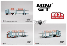 Load image into Gallery viewer, Mini GT 1/64 MiJo Exclusives Mercedes Benz Actros Car Carrier Auto Transport Gulf #214