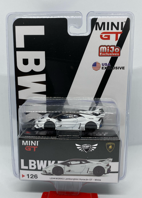 Mini GT LB Works Lamborghini Huracan GT White #126 MiJo Exclusives