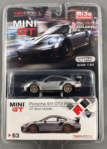 Porsche 911 GT2 RS GT Silver Metallic #63 MiJo Exclusives MINI GT