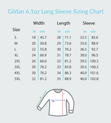 gildan 6.1oz long sleeve sizing chart