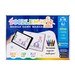 Doodlematic Interactive Mobile Game Creating Starter Kit (with Unique App Upgrade Code, Game Creation Guides, Instructions, Sketch Pad, Washable Colored Markers for hours of fun!)
