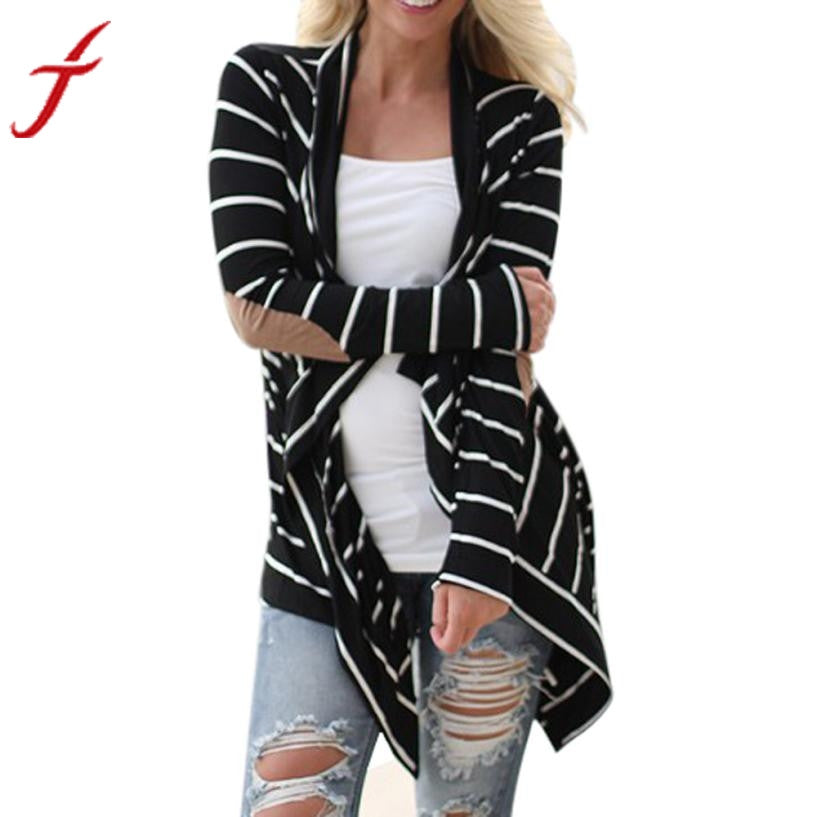 JECKSION Women Jackets 2016 fashion Black white Casual Striped Cardigans Long Sleeve Patchwork Outwear #LN1