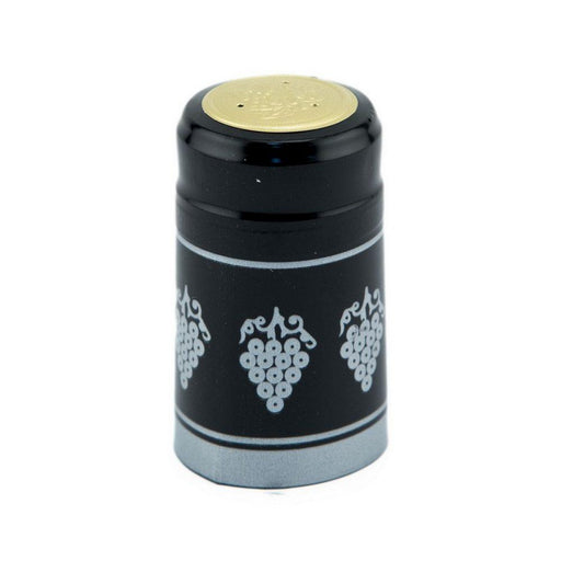 Shrink Cap | Black/Silver Grapes (PK100)*