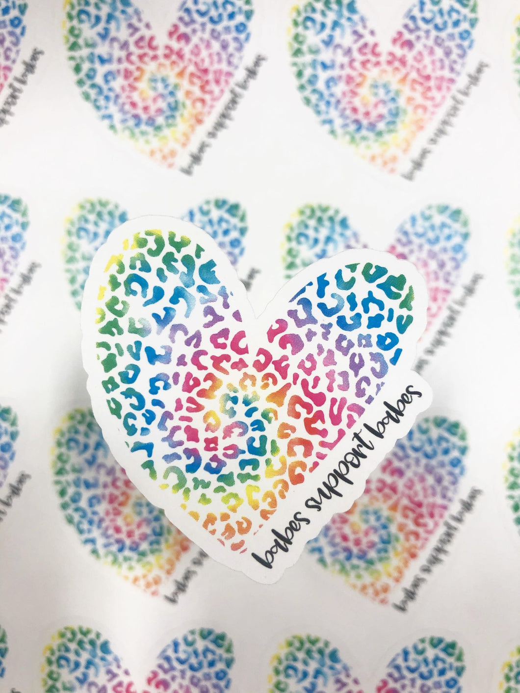 Packaging Stickers | #C0533 - BABES SUPPORT BABES LEOPARD HEART