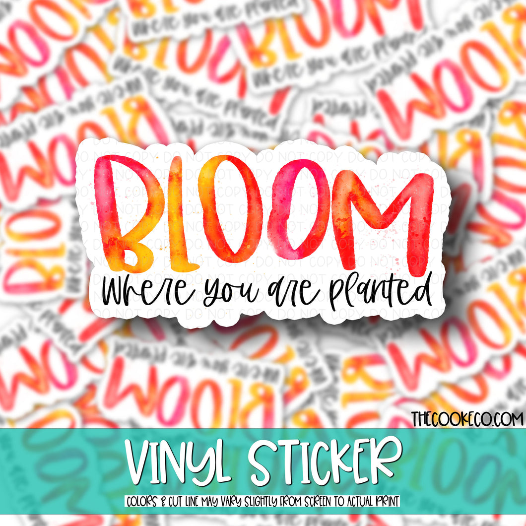 Vinyl Sticker | #V0004 - BLOOM WHERE YOU ARE PLANTED