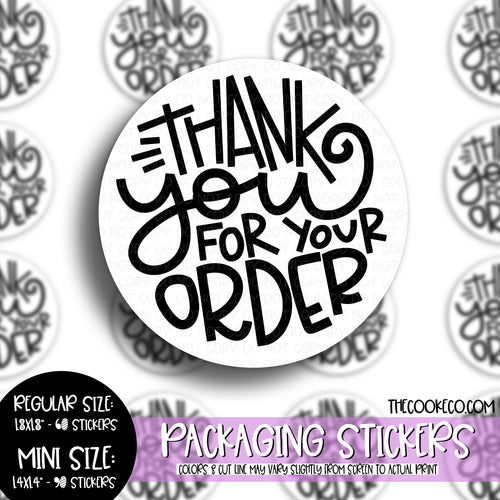 Packaging Stickers | #BW0096 - THANK YOU FOR YOUR ORDER