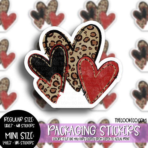 Packaging Stickers | #C0519 - RED BLACK LEOPARD HEARTS